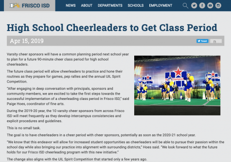 Class periods for all - FISD offers a cheerleading class for all high schools. This gives them an opportunity to practice during the day and become eligible to compete for UIL.