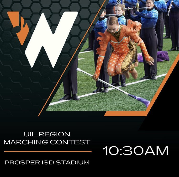 Preparing to Compete! - Through hard work, Wakeland Band has been able to prepare for their competition season. Competition season is the best! Its a lot of hard work and really long days, but the feeling of accomplishment at the end of the show is definitely worth it! Thomas said. This Sat., the band will be performing and competing in the UIL Region Marching Contest at 10:30 a.m..